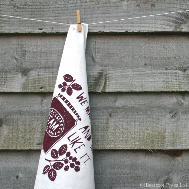 alloment blackberry jam t towel_hand printed by Beetroot Press